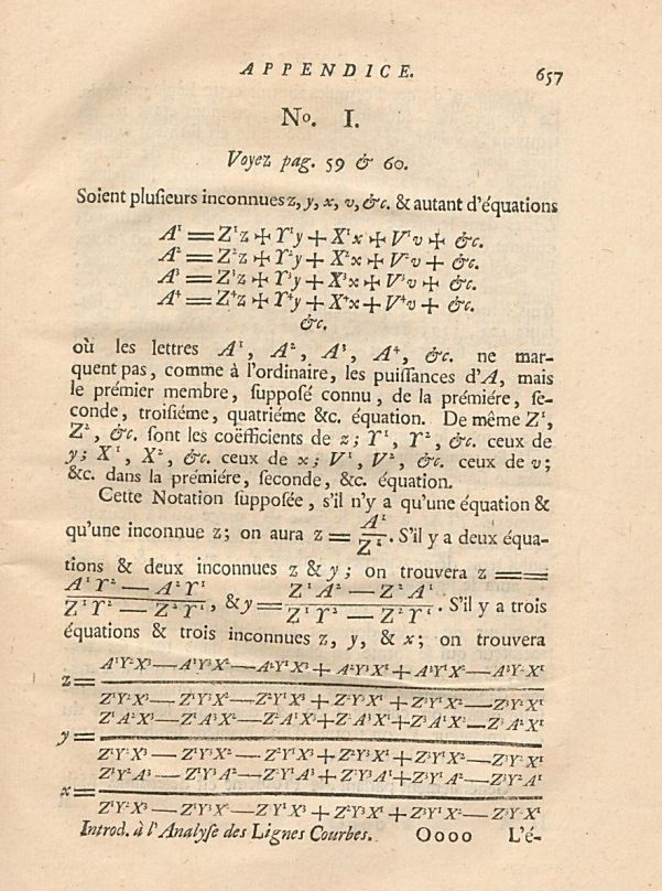 """L'appendice des """"déterminants"""", page 657"""
