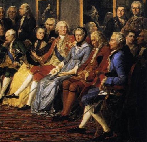 La lecture chez madame Geoffrin, Lemonnier, ca 1814, détail.