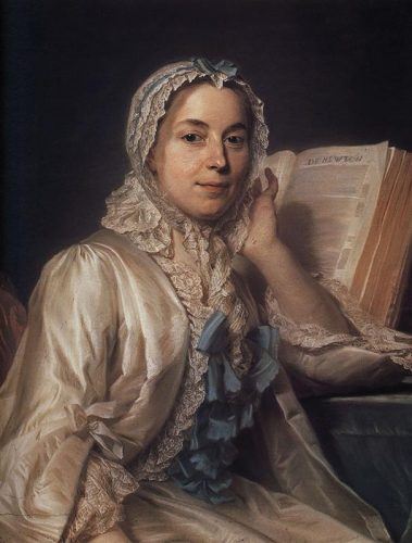 Mademoiselle Ferrand méditant sur Newton, pastel de Quentin de la Tour. Alte Pinakothek, Munich.