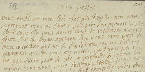 Lettre de madame du Rumain à Gabriel Cramer. Genève, BGE, D.O. 39/3