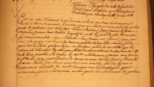 Testament de Gabriel Cramer, Archives dÉtat de Genève, Jur. Civ. E30